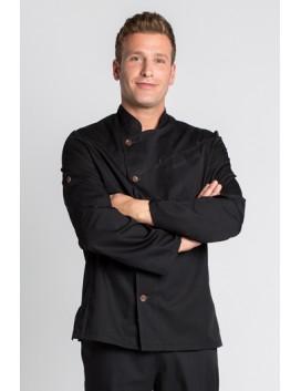 Chaqueta cocinero negra con pespuntes