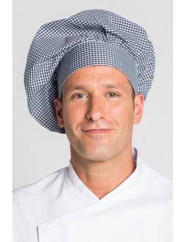 Gorro cocinero cuadro vichy azul